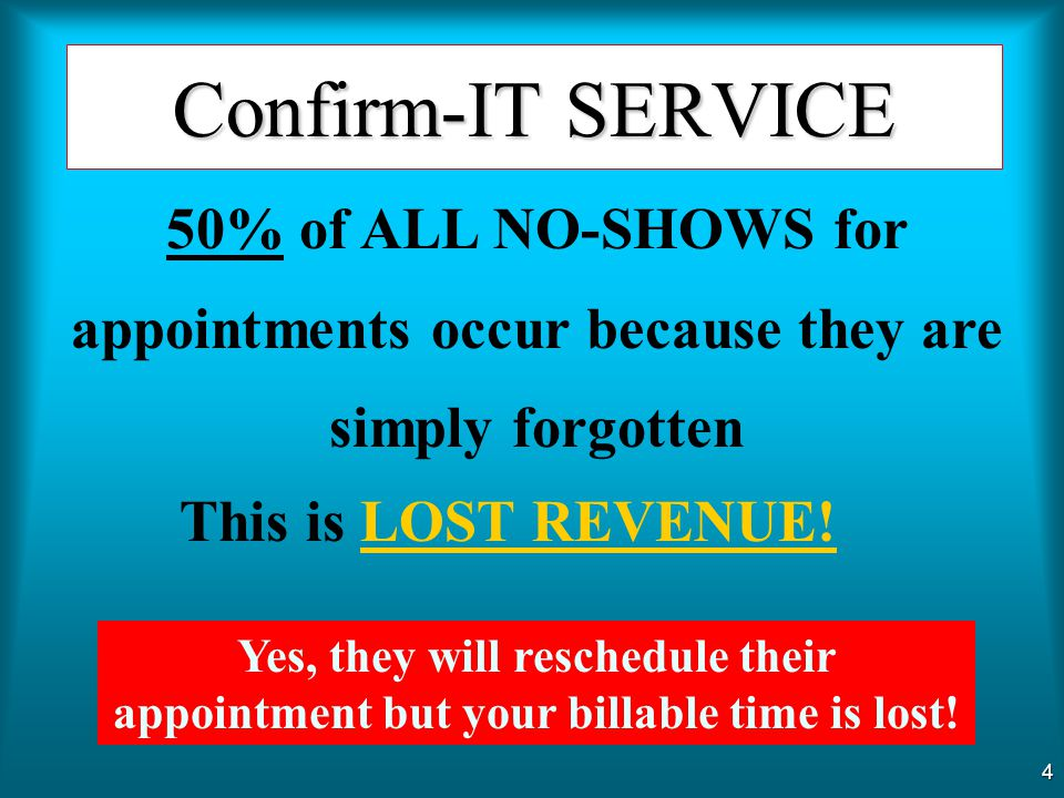 Confirm-IT SERVICE 50% of ALL NO-SHOWS for appointments occur because they are simply forgotten. This is LOST REVENUE!