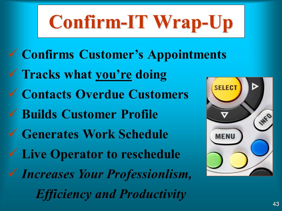 Confirm-IT Wrap-Up Confirms Customer's Appointments