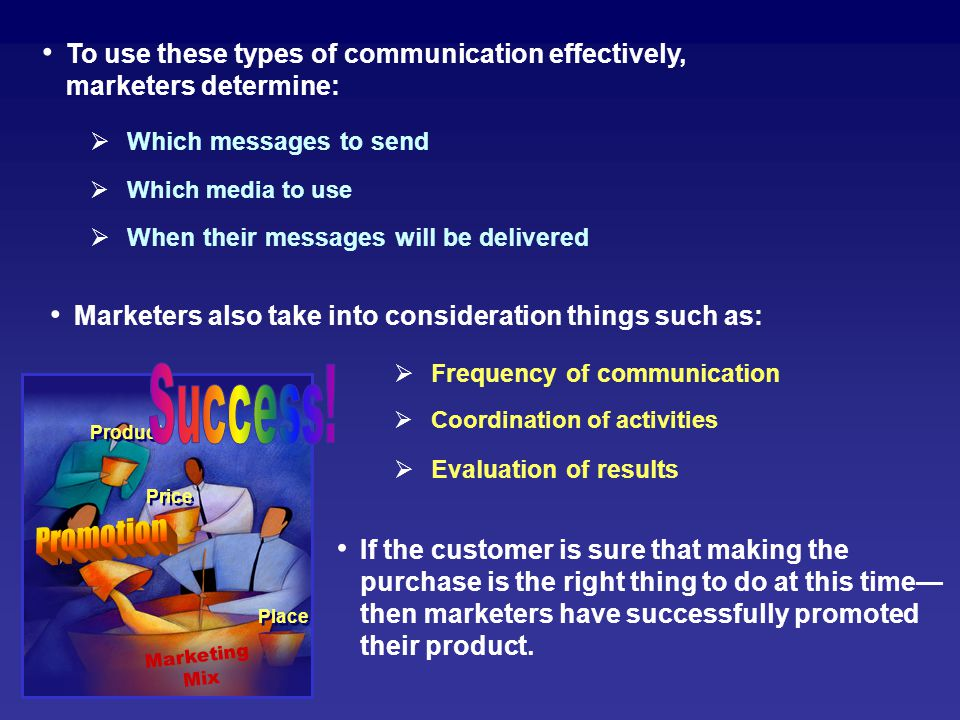 To use these types of communication effectively, marketers determine: