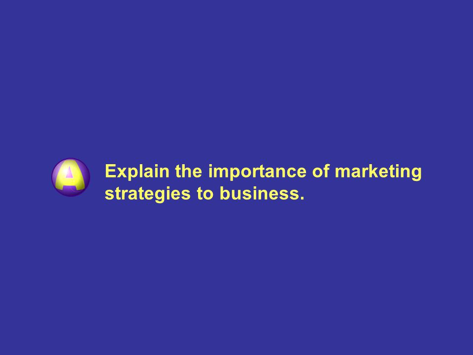Explain the importance of marketing strategies to business.