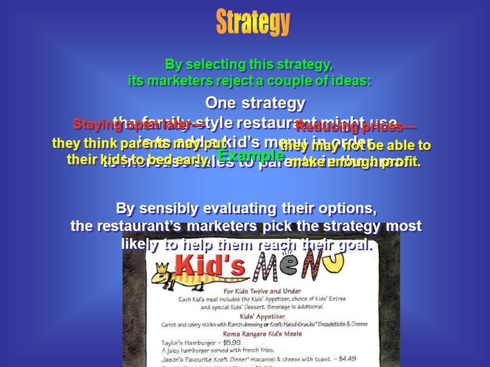 Strategy By selecting this strategy, its marketers reject a couple of ideas: