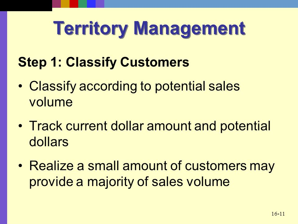 Territory Management Step 1: Classify Customers