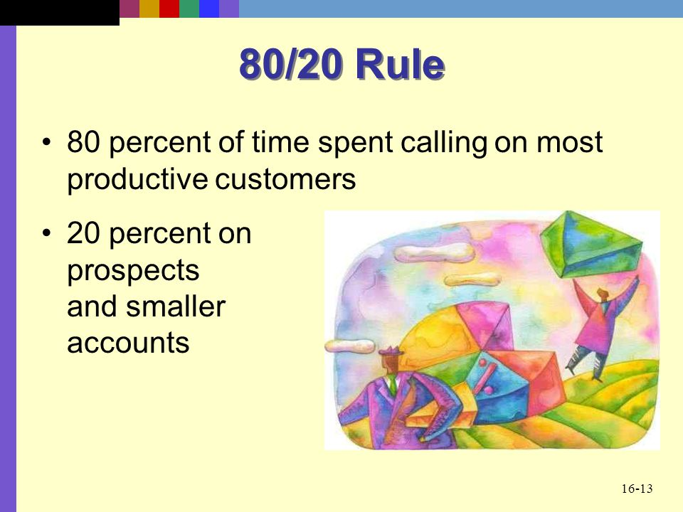 80/20 Rule 80 percent of time spent calling on most productive customers.