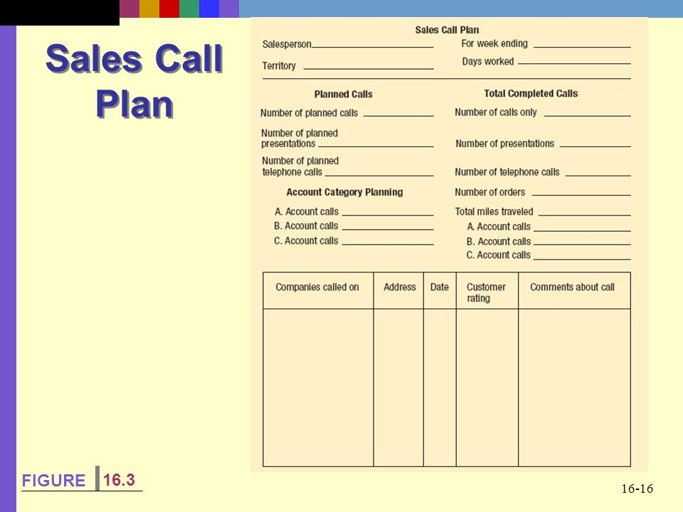 Sales Call Plan FIGURE 16.3