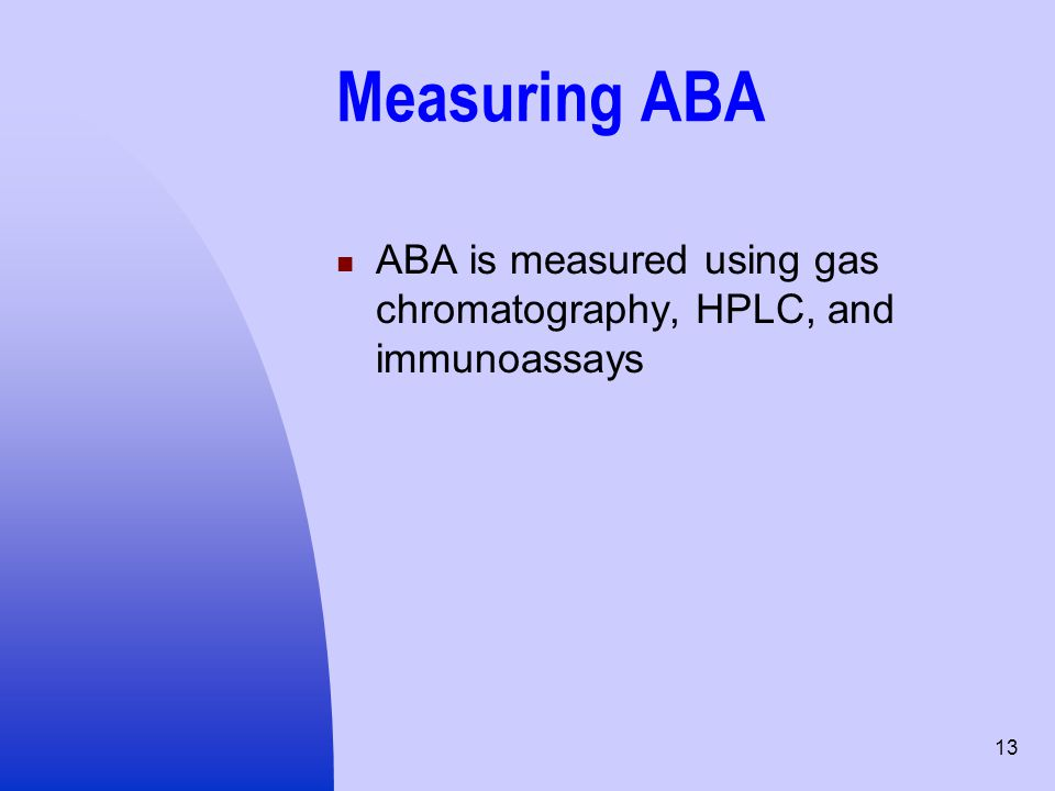 Measuring ABA ABA is measured using gas chromatography, HPLC, and immunoassays
