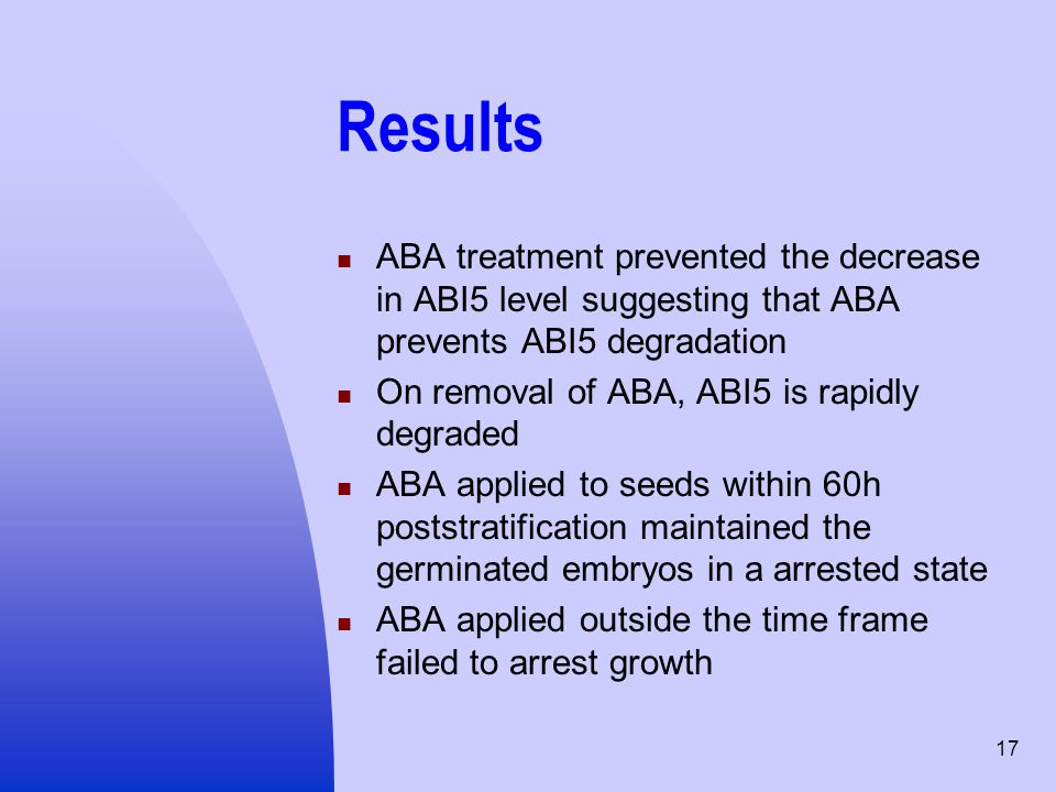 Results ABA treatment prevented the decrease in ABI5 level suggesting that ABA prevents ABI5 degradation.