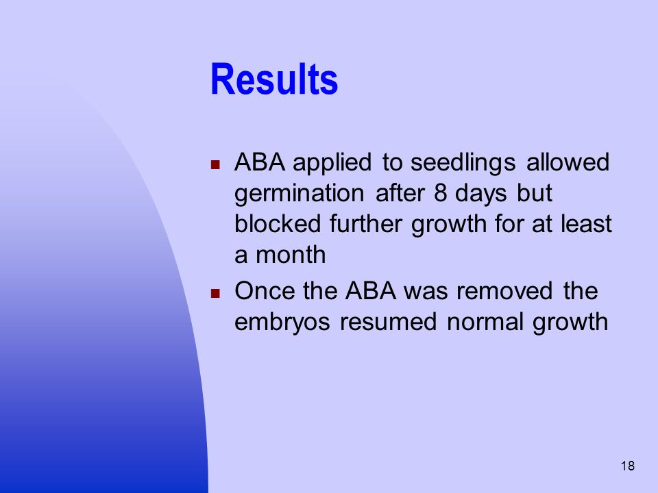 Results ABA applied to seedlings allowed germination after 8 days but blocked further growth for at least a month.