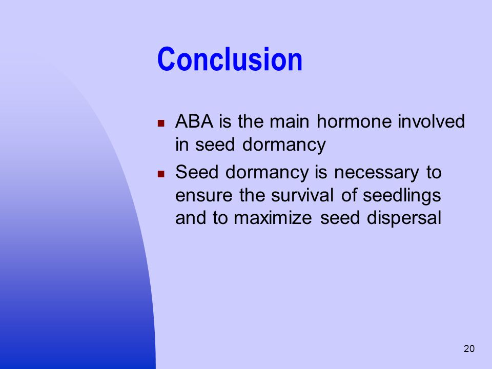 Conclusion ABA is the main hormone involved in seed dormancy