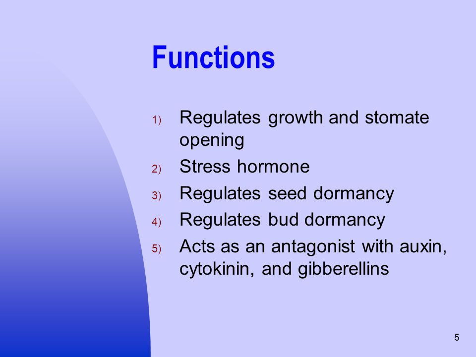 Functions Regulates growth and stomate opening Stress hormone