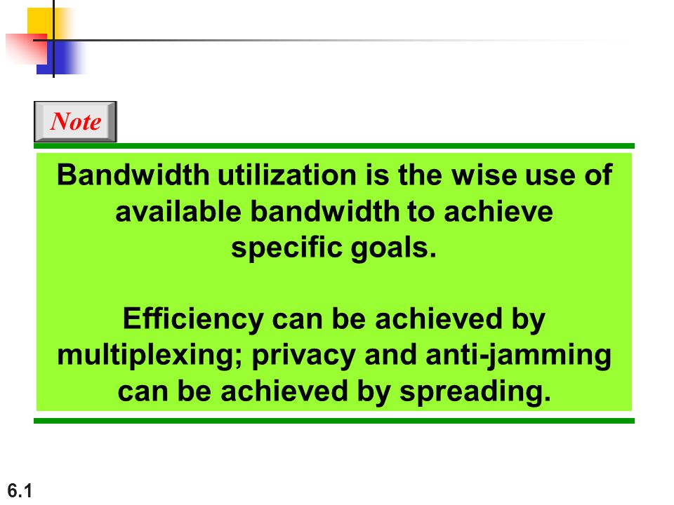Note Bandwidth utilization is the wise use of available bandwidth to achieve specific goals.