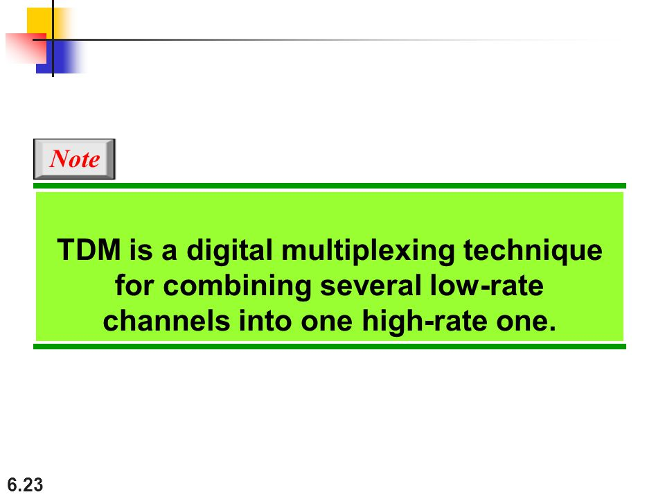 Note TDM is a digital multiplexing technique for combining several low-rate channels into one high-rate one.