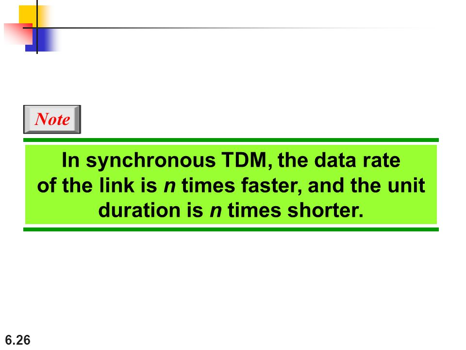 Note In synchronous TDM, the data rate of the link is n times faster, and the unit duration is n times shorter.