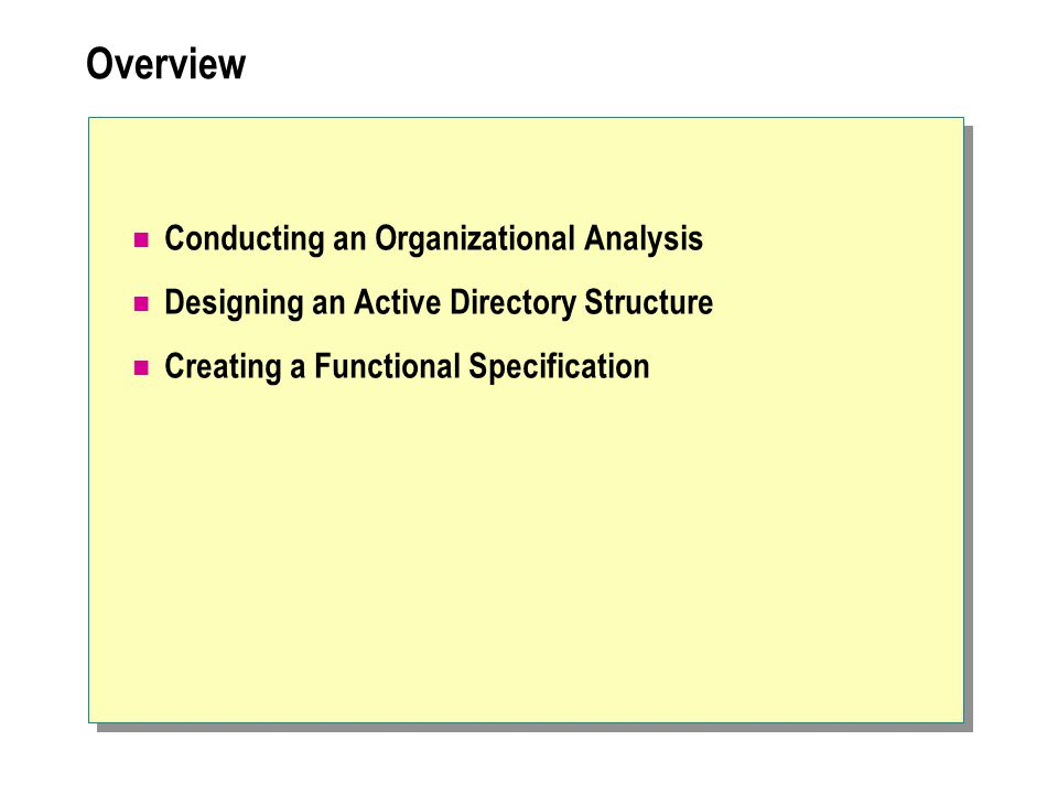 Overview Conducting an Organizational Analysis