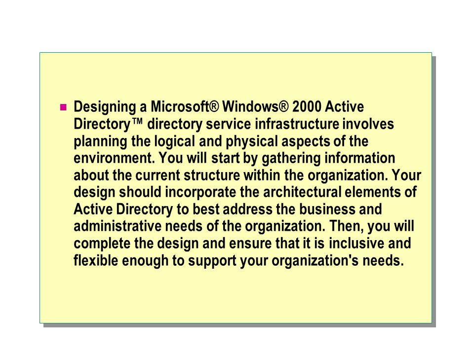 Designing a Microsoft® Windows® 2000 Active Directory™ directory service infrastructure involves planning the logical and physical aspects of the environment.