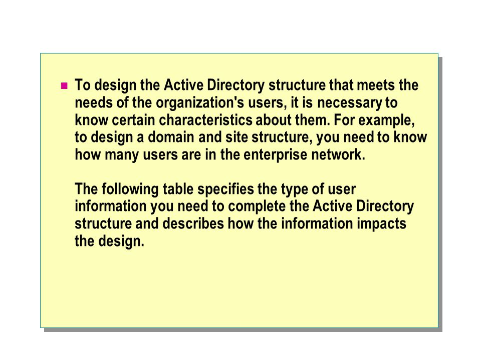 To design the Active Directory structure that meets the needs of the organization s users, it is necessary to know certain characteristics about them.