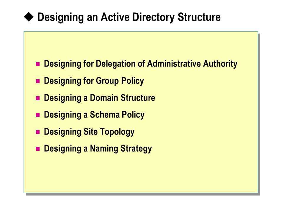 Designing an Active Directory Structure