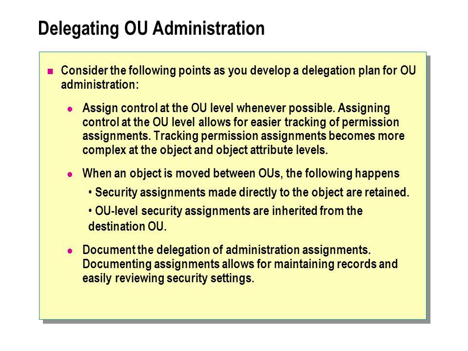 Delegating OU Administration