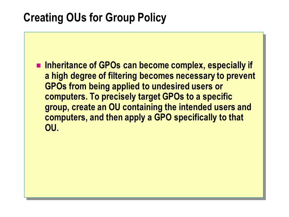 Creating OUs for Group Policy
