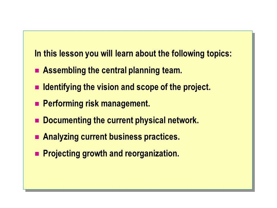 In this lesson you will learn about the following topics: