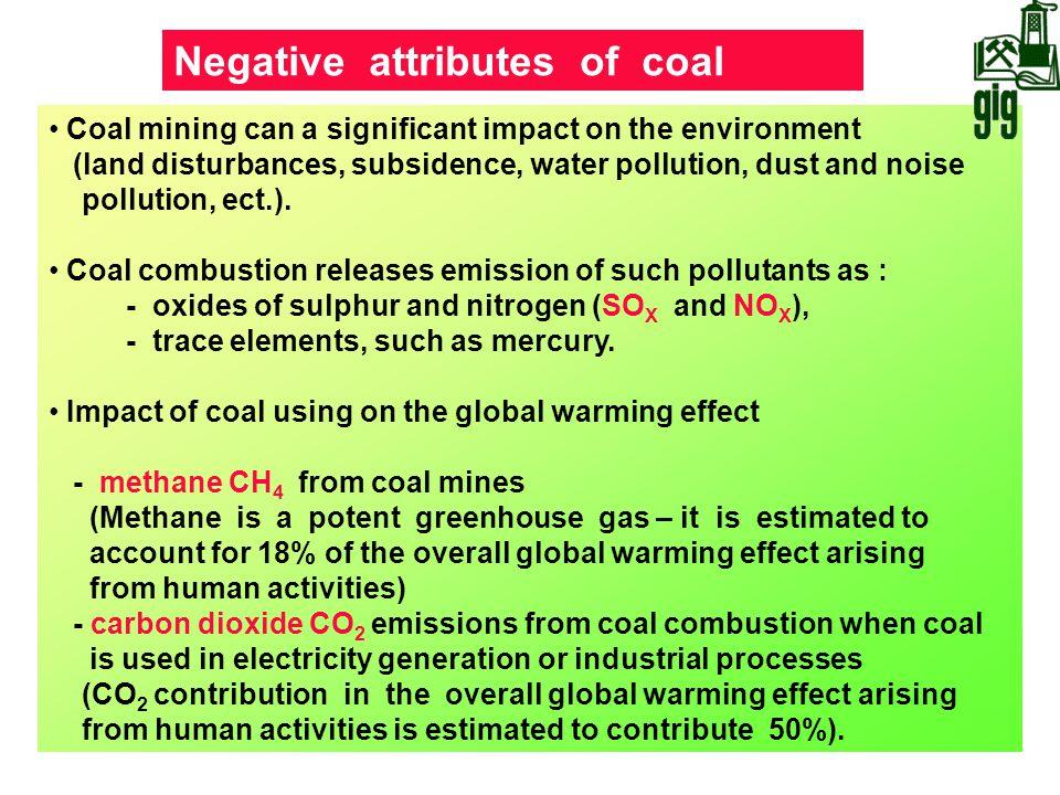 Negative attributes of coal