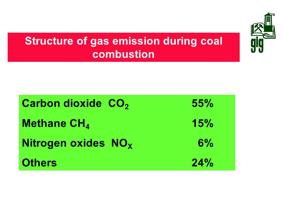 Structure of gas emission during coal combustion