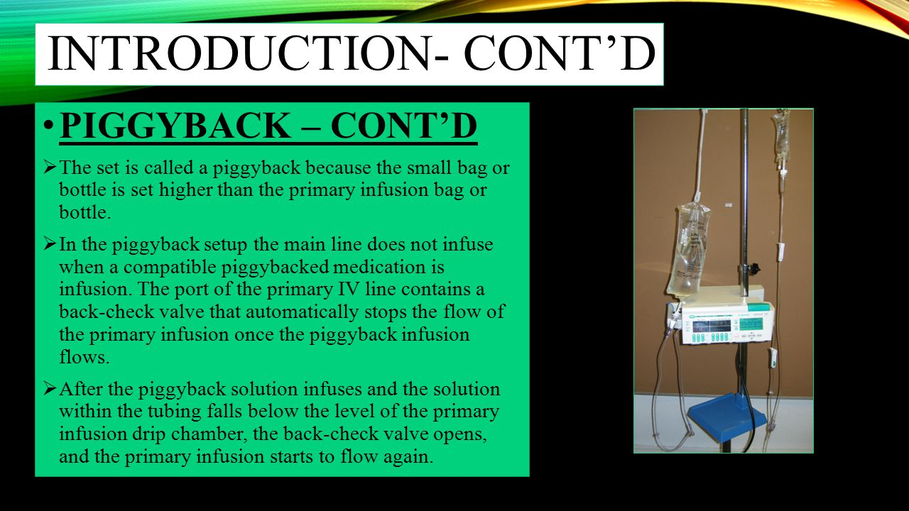Introduction- cont'd PIGGYBACK – CONT'D