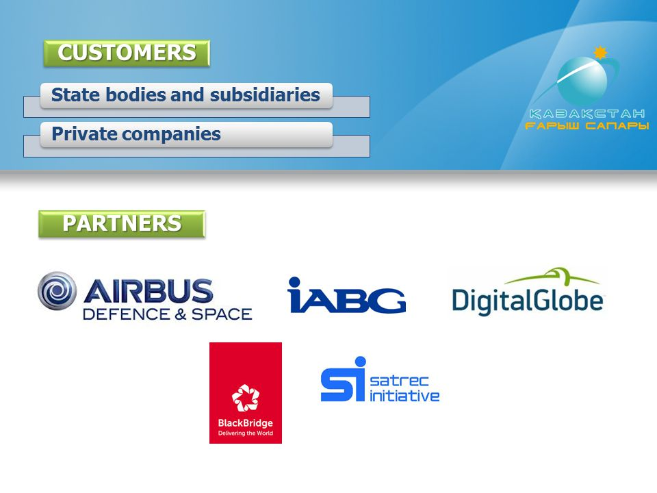 CUSTOMERS State bodies and subsidiaries Private companies PARTNERS