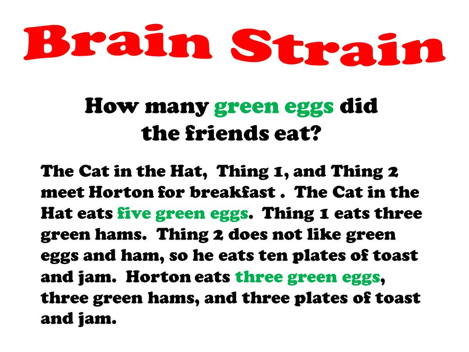 Brain Strain How many green eggs did the friends eat