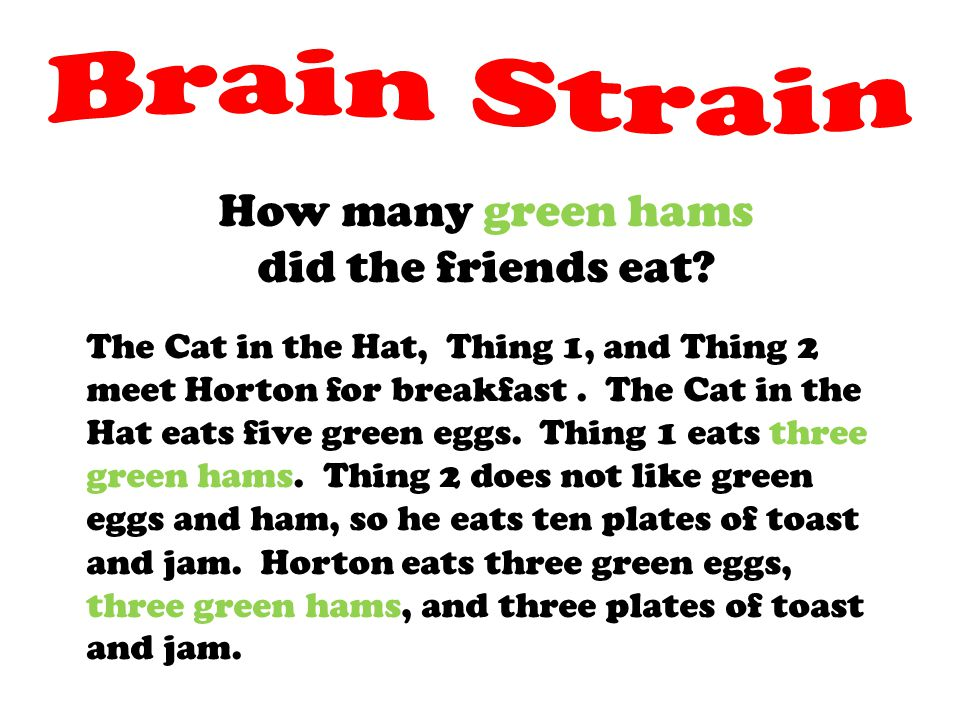 Brain Strain How many green hams did the friends eat