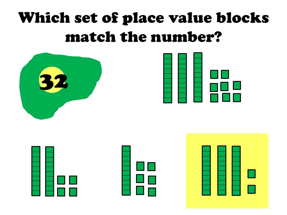 Which set of place value blocks match the number