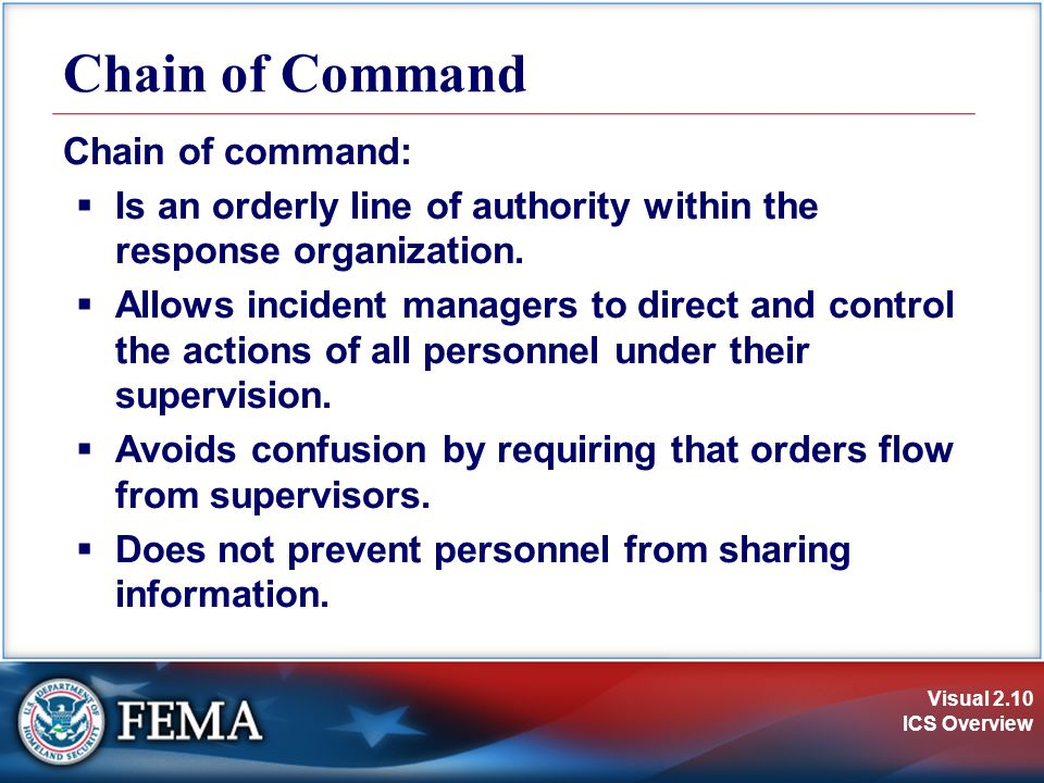 Chain of Command Chain of command: