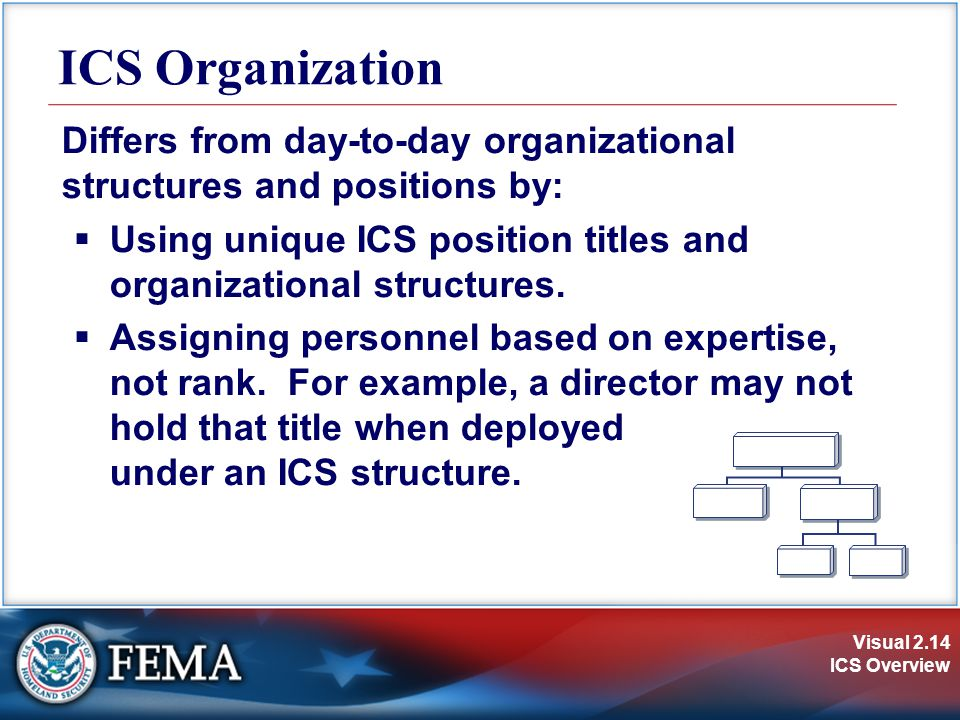 ICS Organization Differs from day-to-day organizational structures and positions by: Using unique ICS position titles and organizational structures.