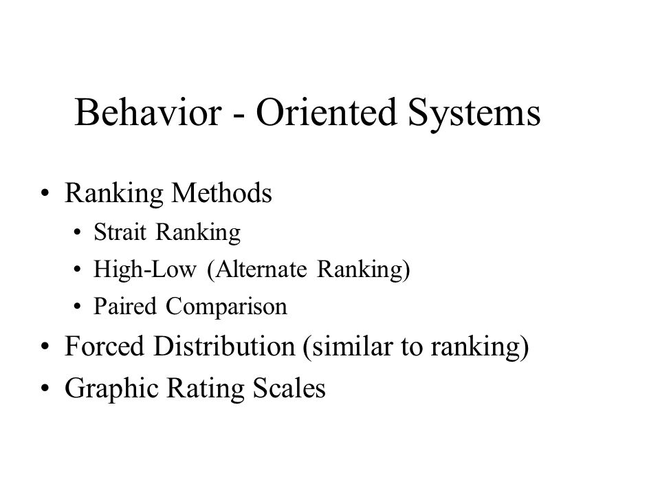 Behavior - Oriented Systems