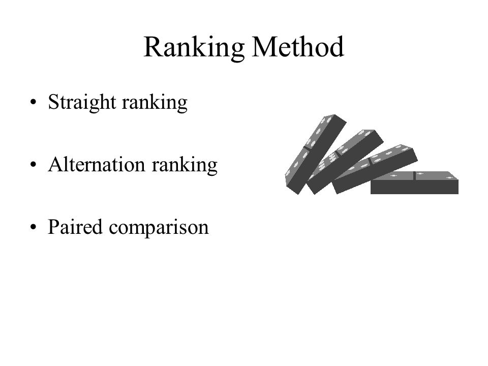 Ranking Method Straight ranking Alternation ranking Paired comparison