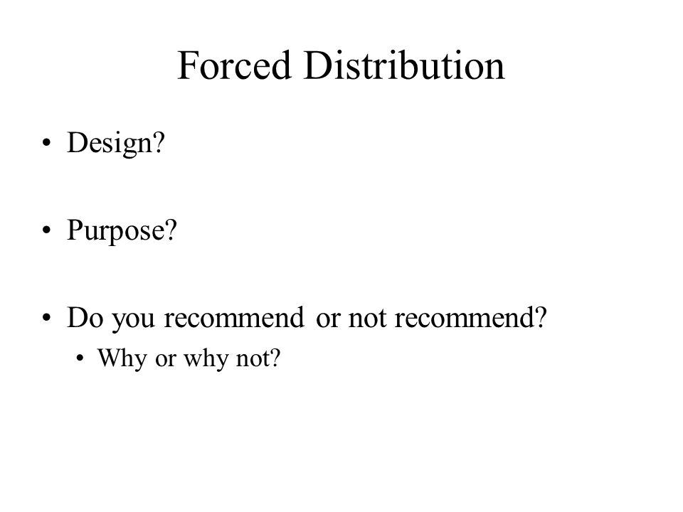 Forced Distribution Design Purpose