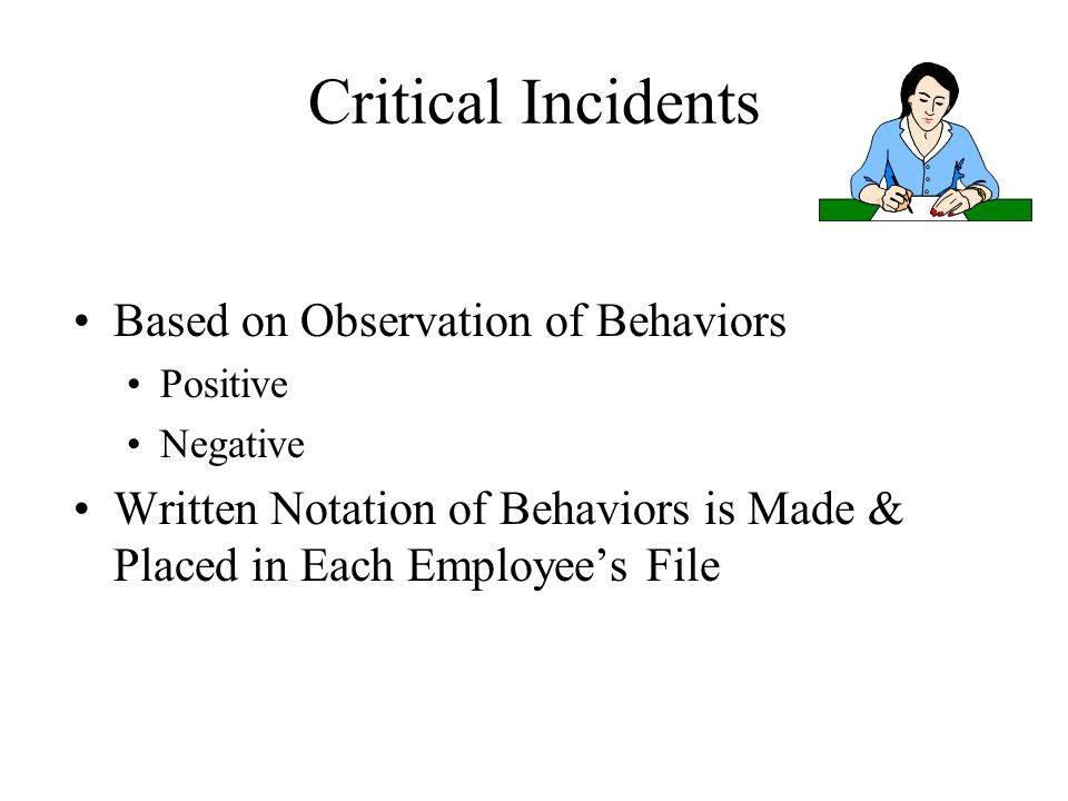 Critical Incidents Based on Observation of Behaviors