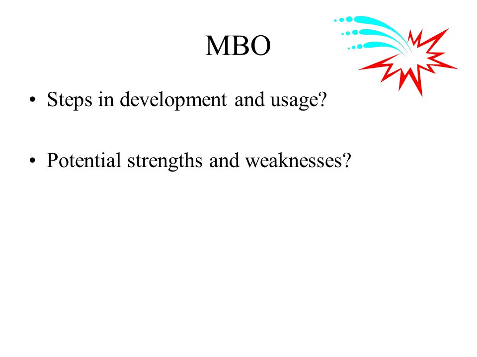 MBO Steps in development and usage