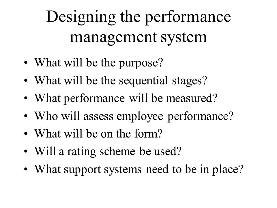 Designing the performance management system