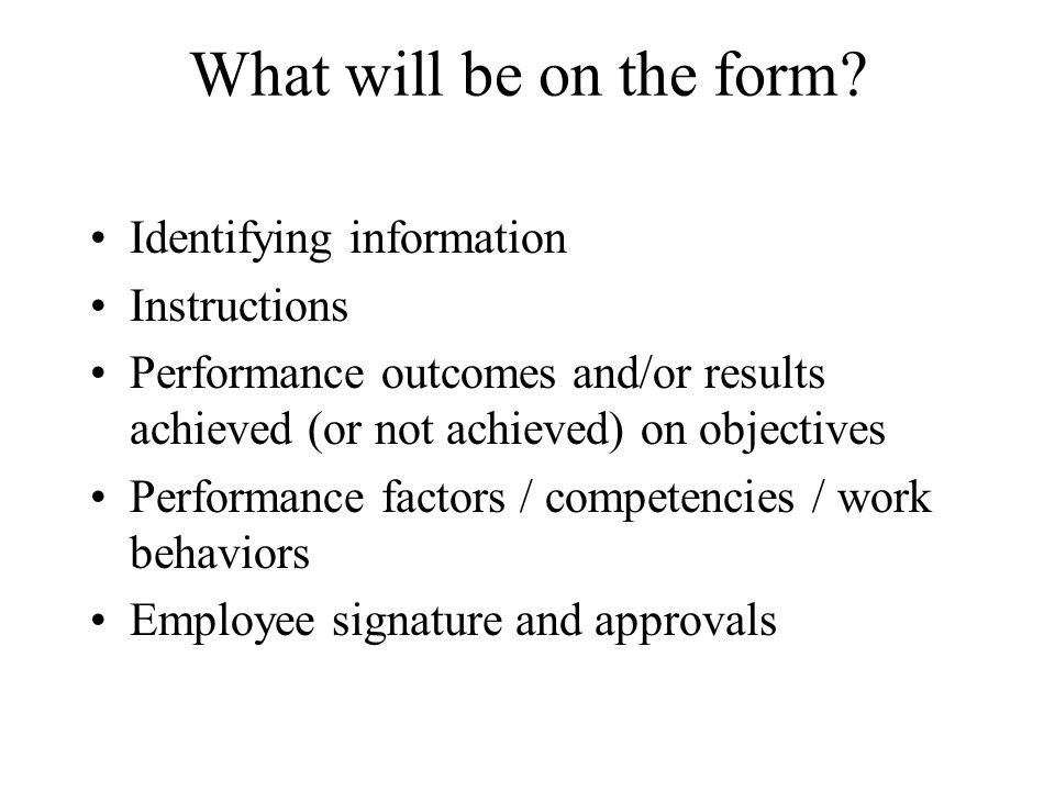 What will be on the form Identifying information Instructions