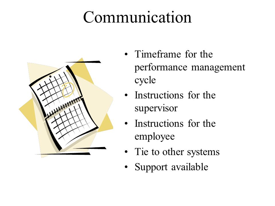 Communication Timeframe for the performance management cycle