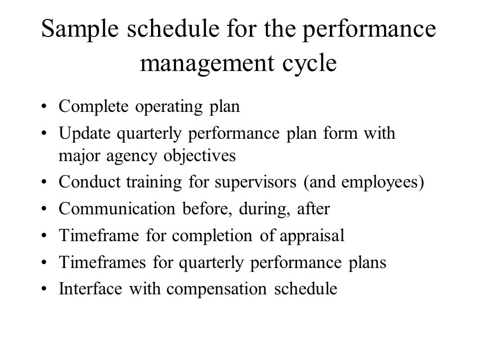 Sample schedule for the performance management cycle