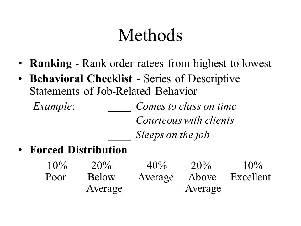 Methods Ranking - Rank order ratees from highest to lowest