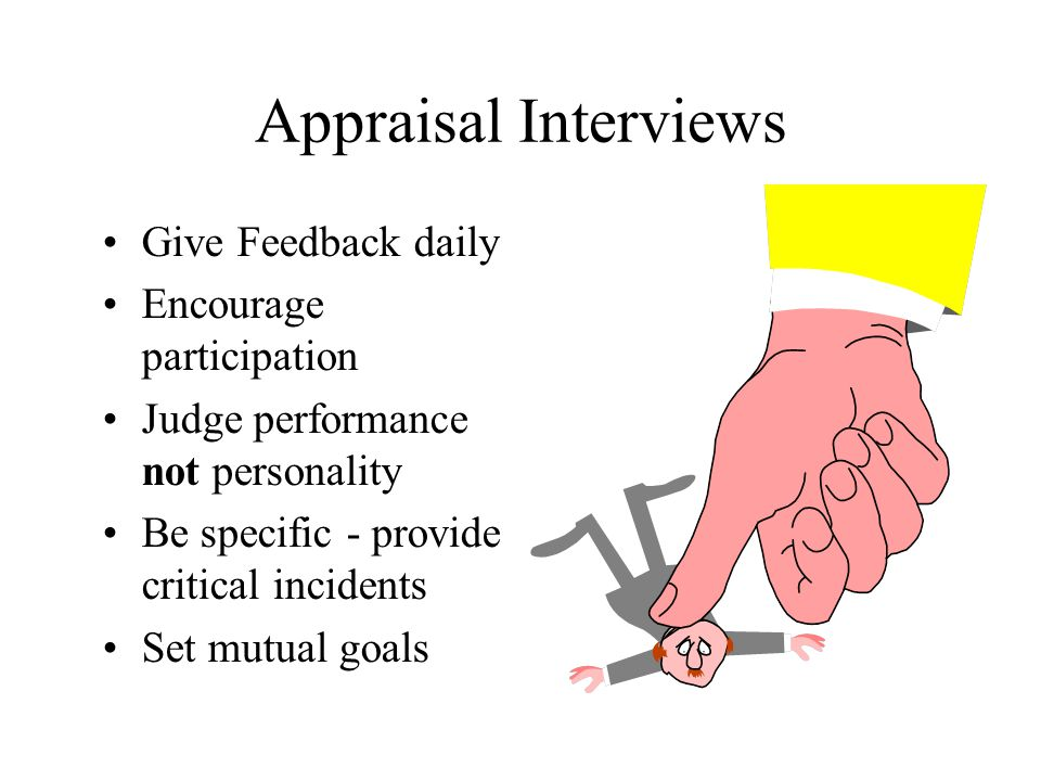 Appraisal Interviews Give Feedback daily Encourage participation