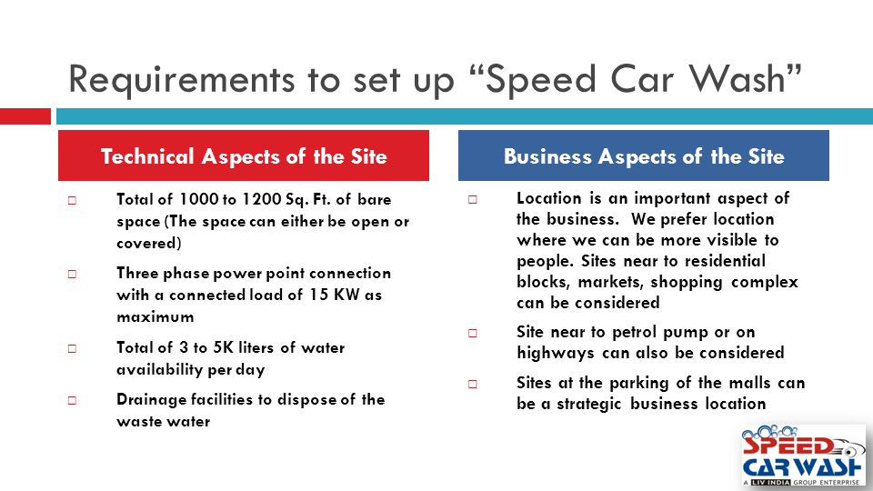 Requirements to set up Speed Car Wash