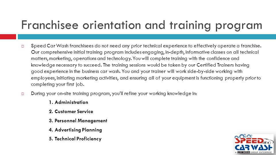 Franchisee orientation and training program