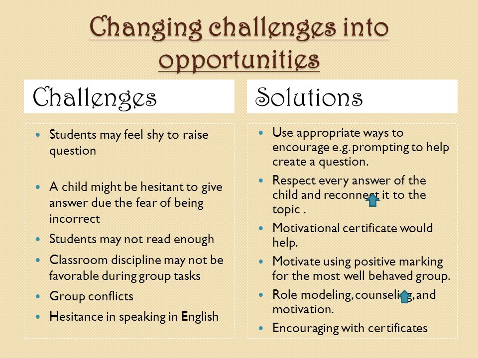 Changing challenges into opportunities