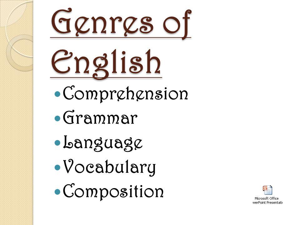 Genres of English Comprehension Grammar Language Vocabulary