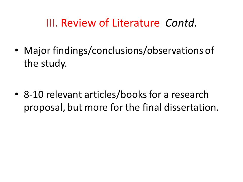 III. Review of Literature Contd.