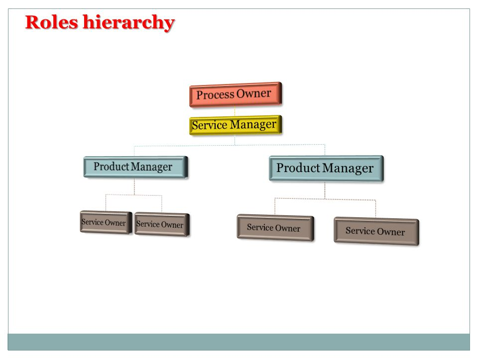 Roles hierarchy Process Owner Service Manager Product Manager