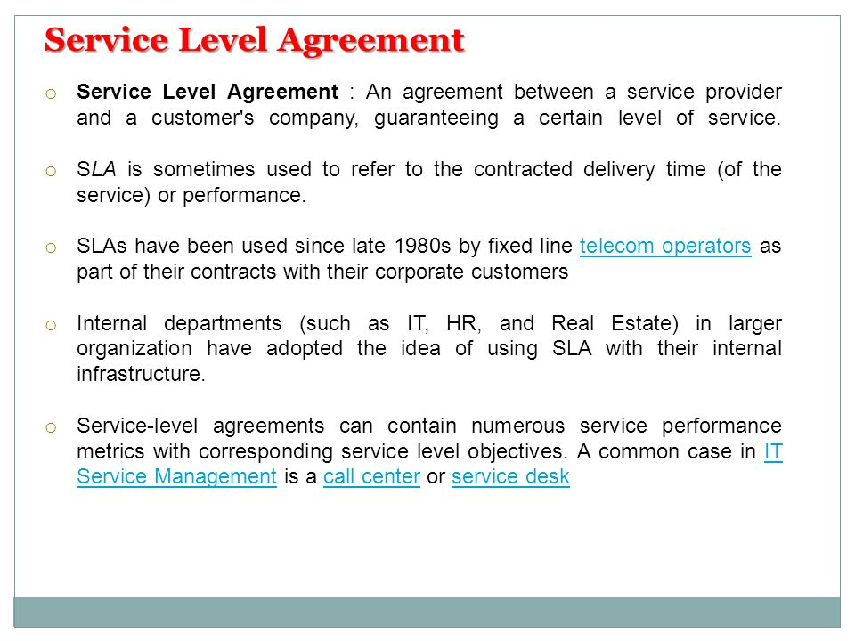 Call Center Agreement Service Level  Best Service